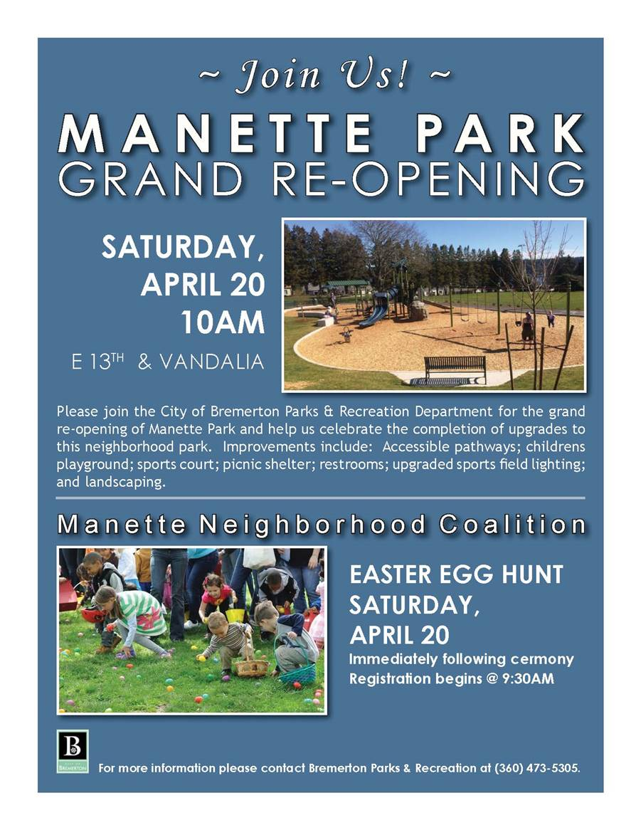 A poster for the Manette Park dedication and Easter egg hunt
